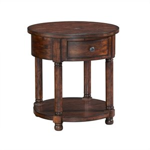 Broyhill Attic Heirlooms Round End Table in Rustic Oak