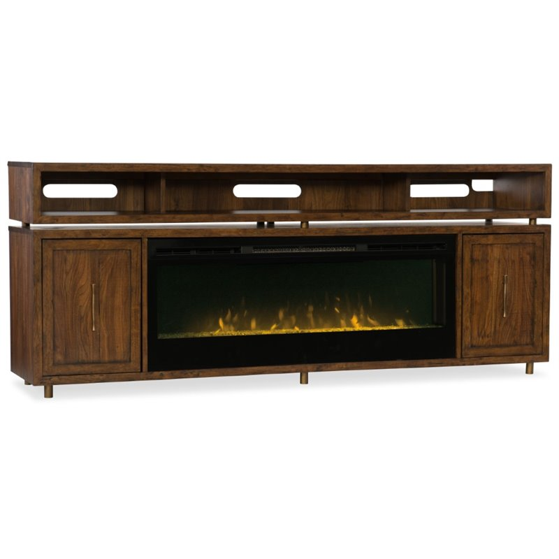 Hooker Furniture Big Sur 84 Fireplace TV Stand in Walnut