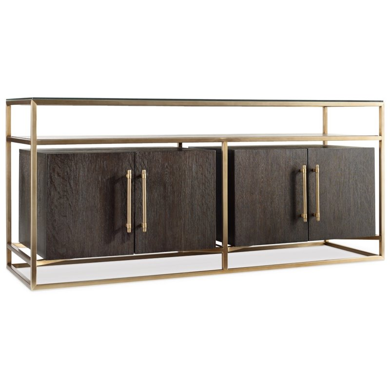 Hooker Furniture Curata 66 TV Stand in Midnight Brown and Brass