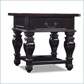 Hooker Furniture New Castle II Square Wood Top Lamp Table in Black