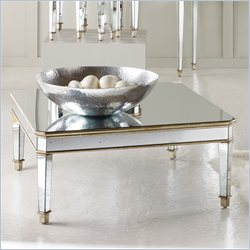 Hooker Furniture Square Mirrored Cocktail Table with Gold Painted Trim Finish Best Price