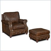 Hooker Furniture Seven Seas Chair and Ottoman in Old Saddle Cocoa