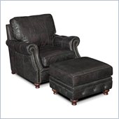 Hooker Furniture Seven Seas Chair and Ottoman in Old Saddle Black