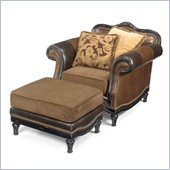 Hooker Furniture Seven Seas Chair with Ottoman in Olde English Livery