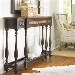 Hooker Furniture Sanctuary Three Drawer Thin Console in Ebony