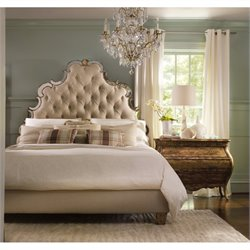 Hooker Furniture Sanctuary 5 Piece Tufted Bed Bedroom Set in Bling