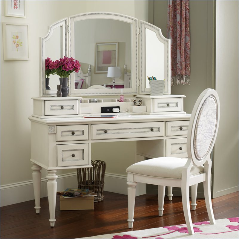 Furniture Opus Designs Claire Vanity Desk With Hutch And Mirror Set In White