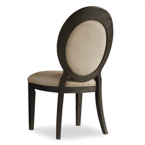 Hooker Furniture Corsica Upholstered Oval Back Dining Chair in Dark Wood