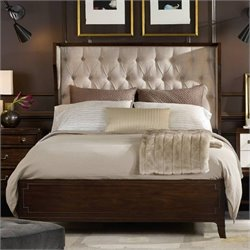 Hooker Furniture Palisade Upholstered Shelter Bed in Walnut and Taupe