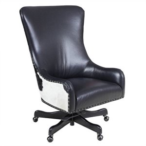 Hooker Furniture Executive Leather Swivel Tilt Office Chair in Nouveau Black with Black and White HOH