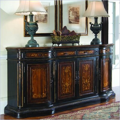 "Hooker Furniture 86"" Credenza in Heavy Black Gesso Finish"