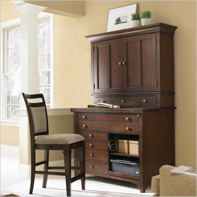 Hooker Furniture Abbott Place Hobby Station with Hutch in Warm Cherry