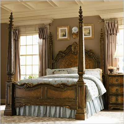 Hooker Furniture Beladora Poster Bed in Caramel with Gold Tipping