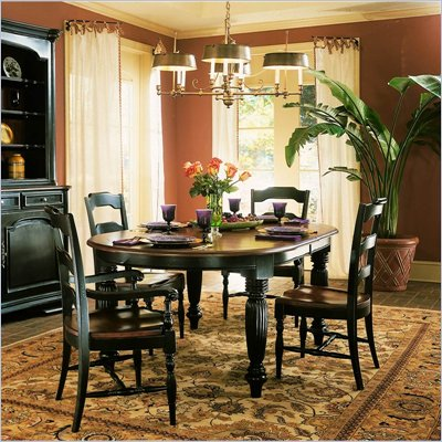 Hooker Furniture Indigo Creek Oval Dining Table in Rub-Through Black