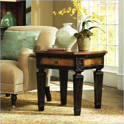 Hooker Furniture North Hampton Wood Top End Table in Black Finish