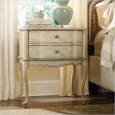 Hooker Furniture Sanctuary Two Drawer Leg Nightstand in Pearl Essence