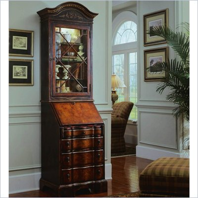 Hooker Furniture Seven Seas Black Antique Glaze Secretary w/ Hutch