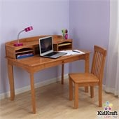KidKraft Avalon Kids Desk with Hutch and Chair in Honey set