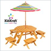 KidKraft Octagon Outdoor Table Set with 4 Stools and Striped Umbrella