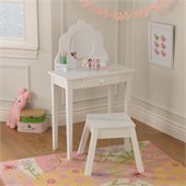 KidKraft Medium Diva Kids Wood Makeup Vanity Table and Stool for Girls with Mirror