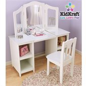 KidKraft Deluxe Wood Makeup Vanity Table with Chair and Mirror