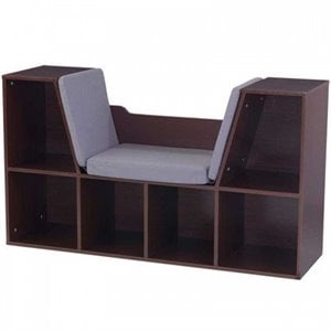 KidKraft 6 Cubby Bookcase with Reading Nook in Espresso