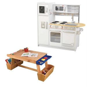 Tables and Chairs 2 Piece Kids Play Kitchen and Table with Drying Rack and Storage Set