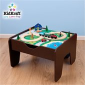 KidKraft 2-in-1 Activity Table with Lego and Train Set in Espresso