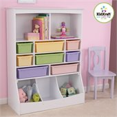 KidKraft Wall Storage Unit with Bins in White