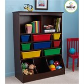 KidKraft Wall Storage Unit with Bins in Espresso