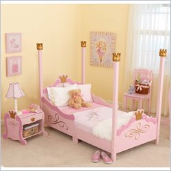 Kidkraft Princess Girls Pink Wood Toddler Bed 2 Piece Bedroom Set Picture