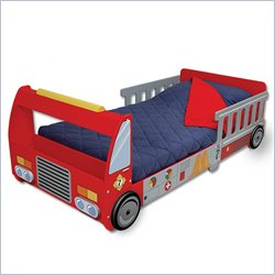Kidkraft Firefighter Red Wood Toddler Bed 2 Piece Bedroom Set Picture