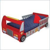 KidKraft Firefighter Red Wood Toddler Bed 2 Piece Bedroom Set