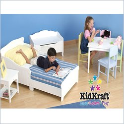 Kidkraft Nantucket White Wood Toddler Bed 2 Piece Bedroom Set Picture