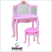 KidKraft Princess Kids Makeup Wood Vanity Table and Stool for Girls with Mirror