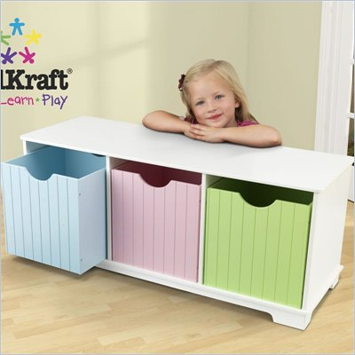 KidKraft Nantucket Storage Bin and Bench - Pastel