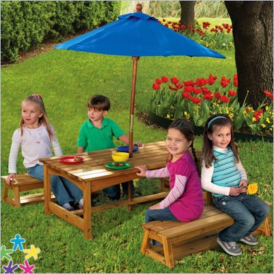 KidKraft Outdoor Picnic Table and Benches with Blue Umbrella