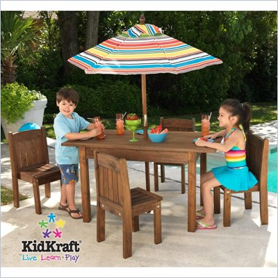 KidKraft Table and Stacking Chairs Patio Set with Striped Umbrella