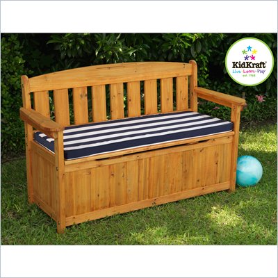 KidKraft Storage Bench with Cushion in Navy and White Stripes