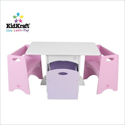 KidKraft White Table with Pastel Benches