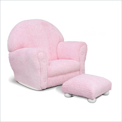KidKraft Pink Chenille Rocker with Ottoman Set