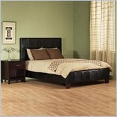 Modus Milano Low Profile Upholstered Leather Bed in Chocolate