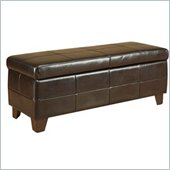 Modus Milano Leather Storage Bench Ottoman in Chocolate Brown