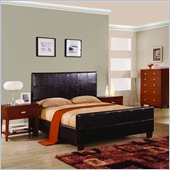 Modus Milano Genuine Leather Upholstered Modern Panel Bed in Chocolate