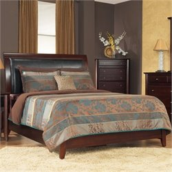 Modus City II Leatherette Upholstered Low Profile Sleigh Bed in Coco Finish