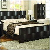 Modus Maui Wave Wood Panel Bed 3 Piece Bedroom Set in Chocolate Brown
