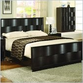 Modus Maui Wave Wood Panel Bed 4 Piece Bedroom Set in Chocolate Brown