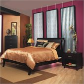 Modus Nevis Low Profile Wood Sleigh Bed in Espresso 3 Piece Bedroom Set