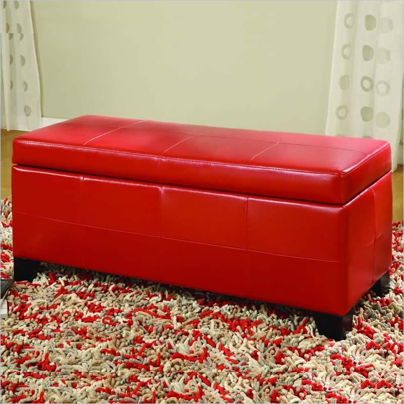 modus upholstered milano blanket storage bench in red
