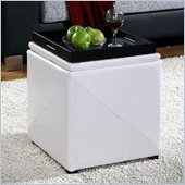 Modus Upholstered Milano Storage Cube Ottoman in White Leatherette